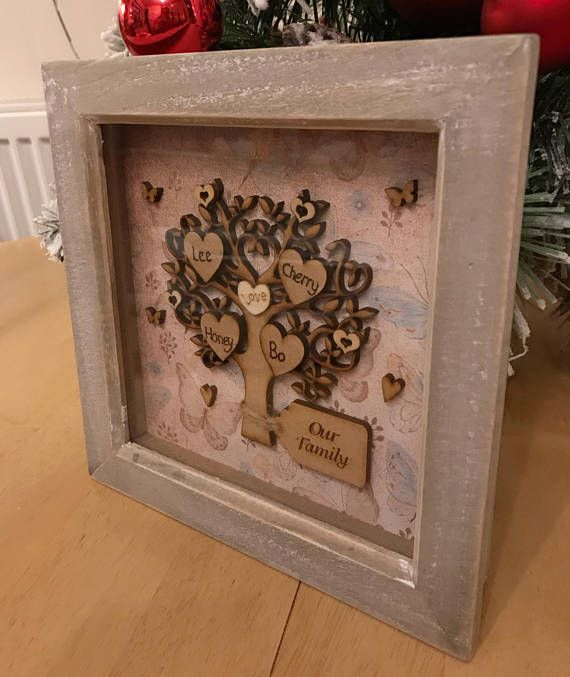 A beautiful, unique, engraved Family Tree. A prefect gift for Mother's Day, weddings, anniversaries and birthdays. Up to six names can fit into this frame, I also do a bigger frame in my other listings and a white one too. I am happy to include pets, just email me with a list of names