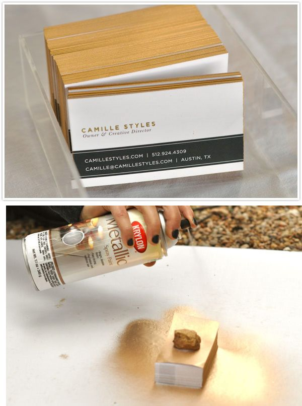 DIY - Gold Edged Business Cards using Krylon's Metallic Spray Paint in Gold. Full Tutorial.