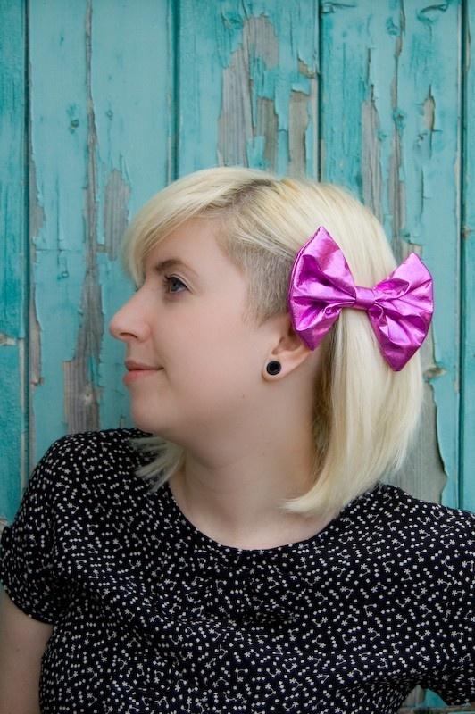 Pink foil hair bow