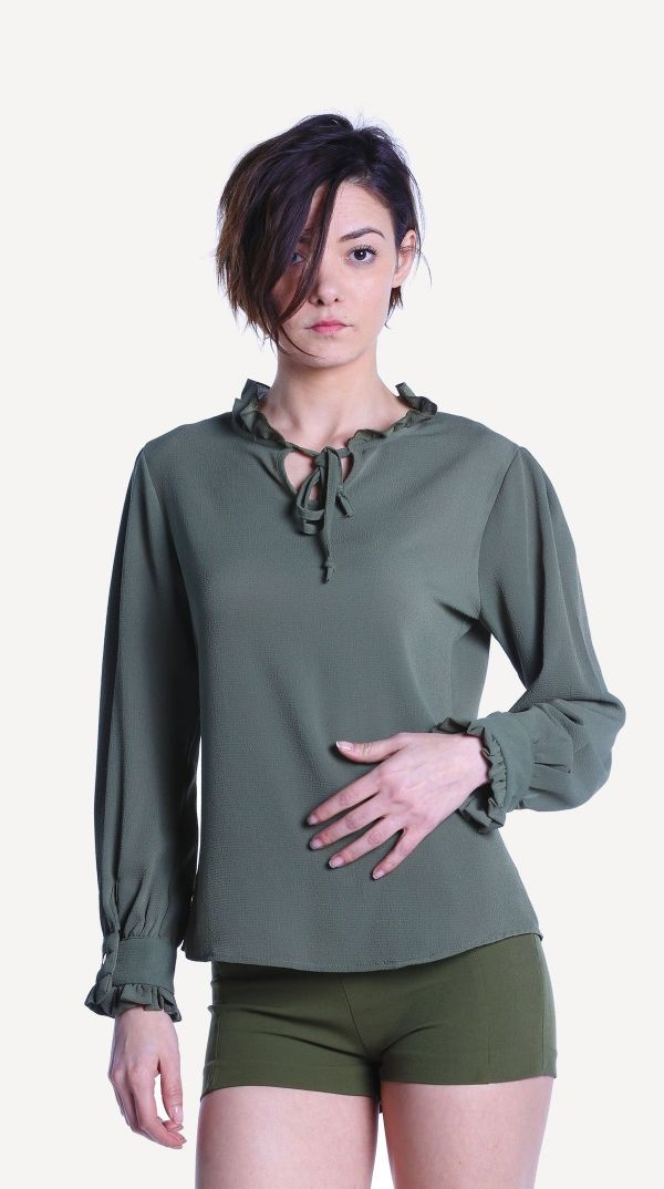 Haki Renk Yaka Firfirli Gomlek 989898 Kapida Odemeli Ucuz Bayan Giyim Alisveris Sitesi Modivera Giyim Bluz Modelleri Bluz