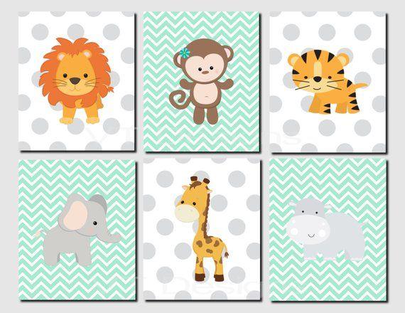 Mint Nursery Art Mint Nursery Prints Safari Jungle Animals Animal Nursery