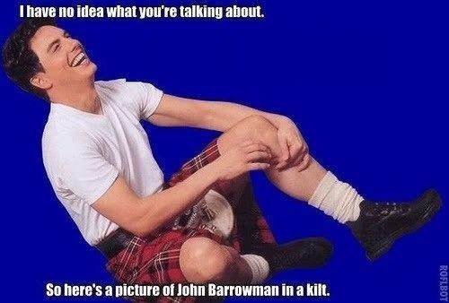 John Barrowman wearing kilt