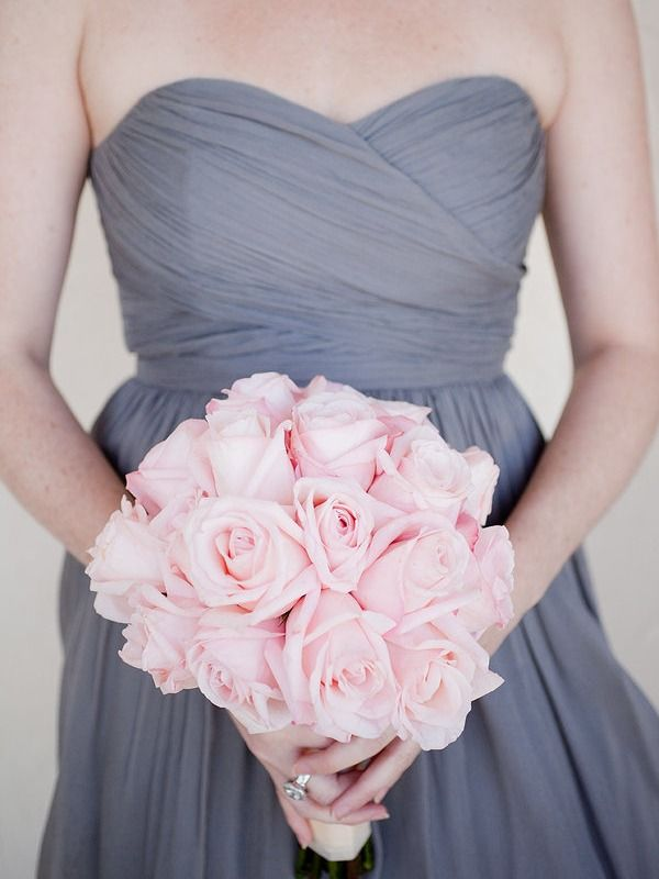 blush bouquets with neutral bridesmaid dresses