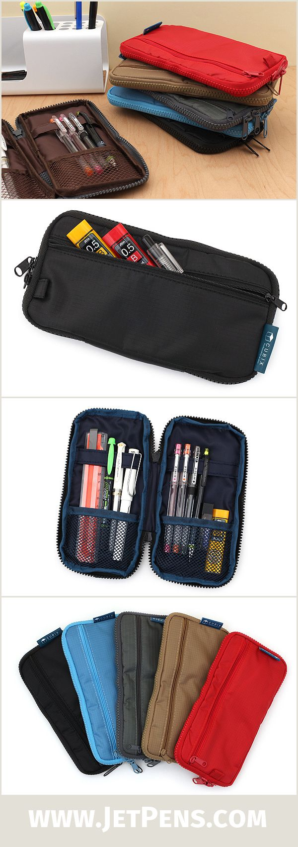 The slim Cubix Round Zip Pen Case is made of lightweight nylon with cushioned compartments for storing your pens, pencils, leads, and other stationery accessories.