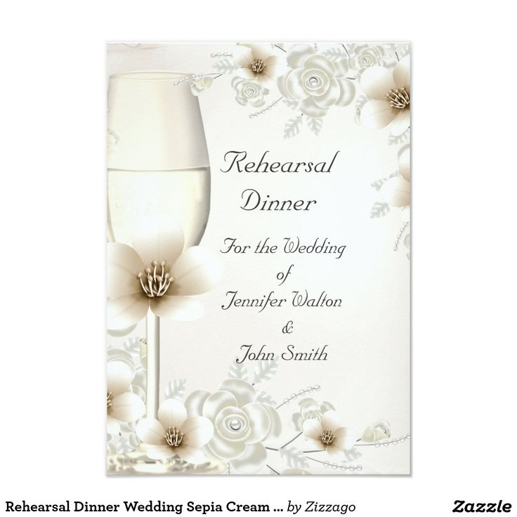 Rehearsal Dinner Wedding Sepia Cream Rose Blossom