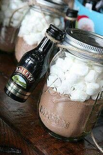 Great gift idea-ugh, why is this so amazing? Hmmmm I do cocoa every year, why have I never added baileys???