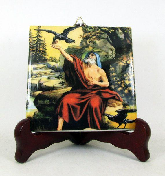 The #Prophet #Elijah with the ravens collectible #religious icon on tile  #saintoftheday #stoftheday #pray http://etsy.me/2u7EbTZ