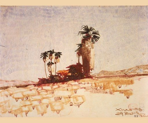 A sketch made on Christmas, 1938, of the desert near Twentynine Palms, California, retains the technical skill of Neutra's earlier drawings while reflecting the lyricism he was developing in his architecture. Architectural Digest