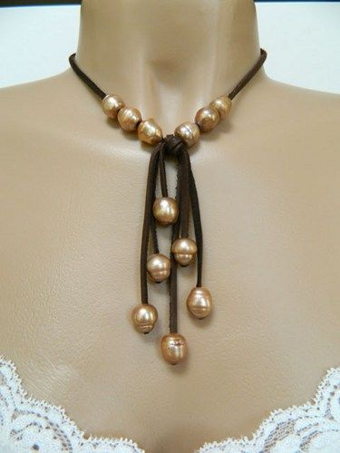 Toffee Baroque Pearl Necklace - Brown Leather - Choker Style, Handmade   DoubleSJewelry - Jewelry on ArtFire