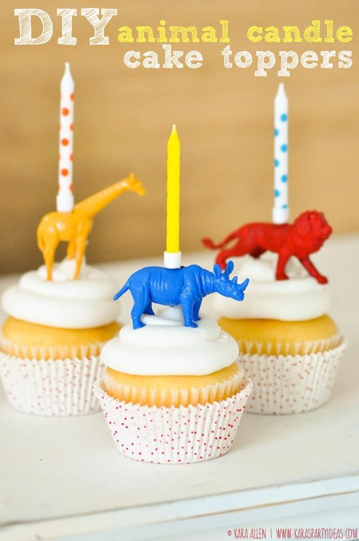 DIY animal birthday candle cake + cupcake toppers via Kara Allen | Kara's Party Ideas KarasPartyIdeas.com Giraffe, Lion, Rhino! Jungle Animal party ideas!