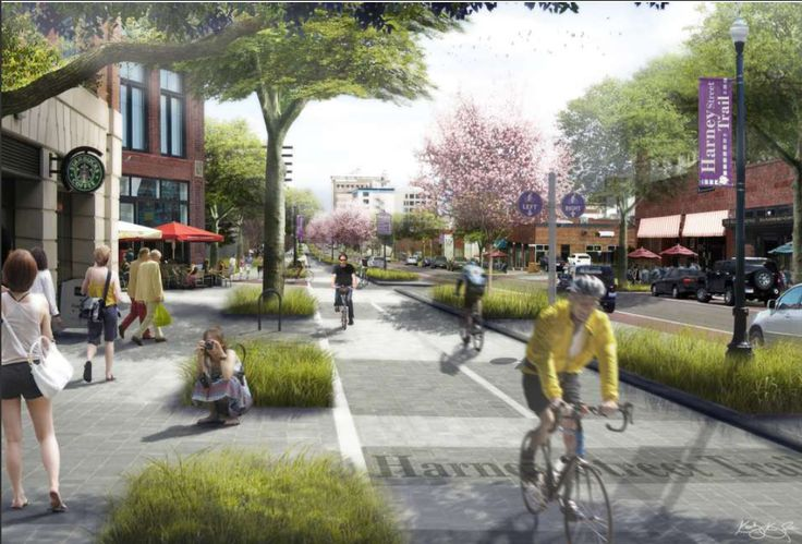 Rendering for proposed bike lane in Omaha.