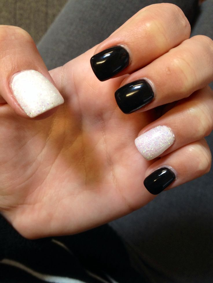 Black Gel Nails With One Silver Glitter Nail: Black Gel Nails With White And Glitter Dipped Gel Accent