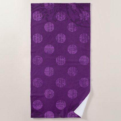 Victorian Grunge Colorful Retro Purple Polka Dots Beach Towel - retro gifts style cyo diy special idea