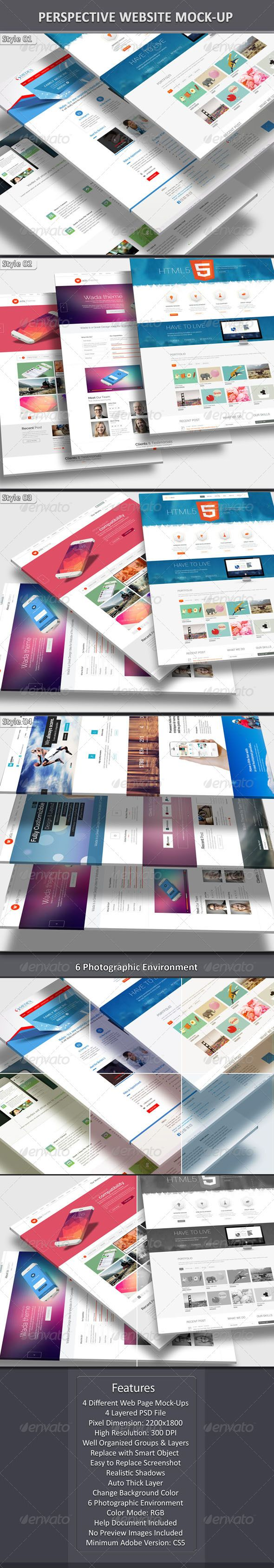 Perspective Web MockUp — Photoshop PSD #smart #3 screen • Available here → https://graphicriver.net/item/perspective-web-mockup/7492639?ref=pxcr