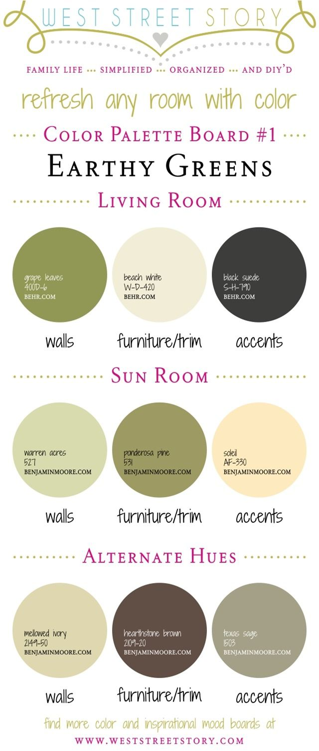 Green paint colors - Earthy Greens Color Palette Board Head On Over To The Blog To Read Tips On