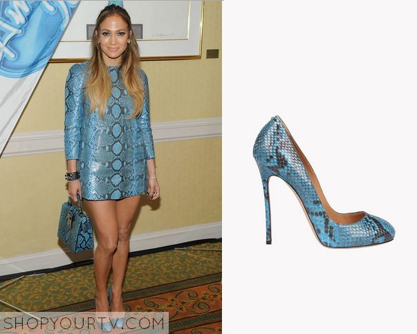 American Idol: Season 14 Episode 4 Jennifer's Blue Snakeprint Heels