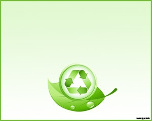 Free green recycle and leaves PowerPoint template background with green background color