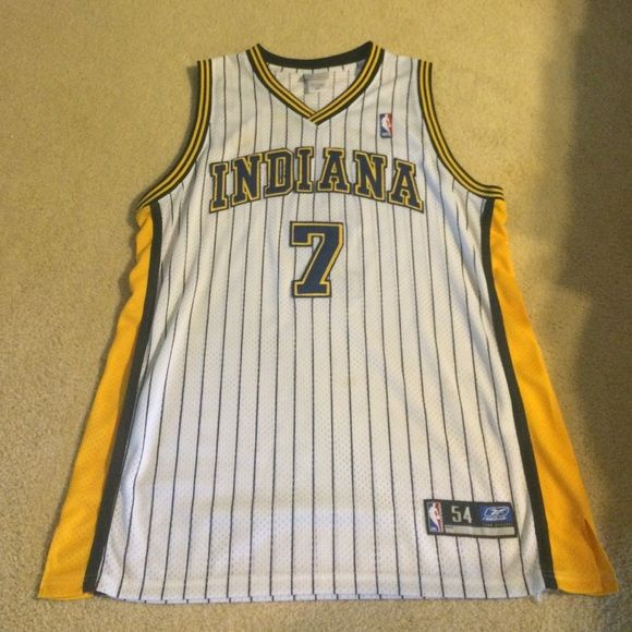 Authentic Jermaine O'Neal Indiana Pacers Jersey This is an authentic Jermaine O'Neal Indiana Pacers jersey, worn a few times. Stitching is slightly worn out but still in good condition. Rare collection. 100% AUTHENTIC. Size 54 which is around a XXL size. Very nice jersey and 100% real. No fake Chinese jersey stuff. True NBA fans appreciate. Created by Reebok back when all jerseys were reebok sponsored. Reebok Other