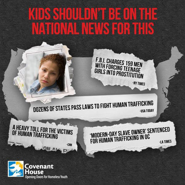 Kids shouldn't be on the national news for this. Every day there are more and more headlines about #sextrafficking. It's happening to American kids on American streets. I'm working with Covenant House to put a stop to the buying and selling of children – join me.