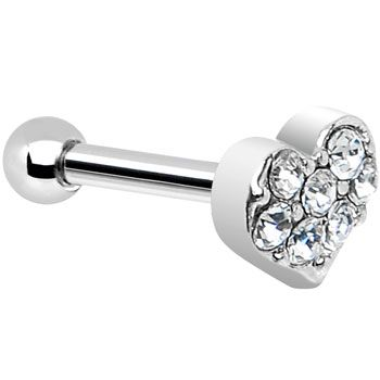 16 Gauge Clear Gem Heart Cartilage Tragus Earring