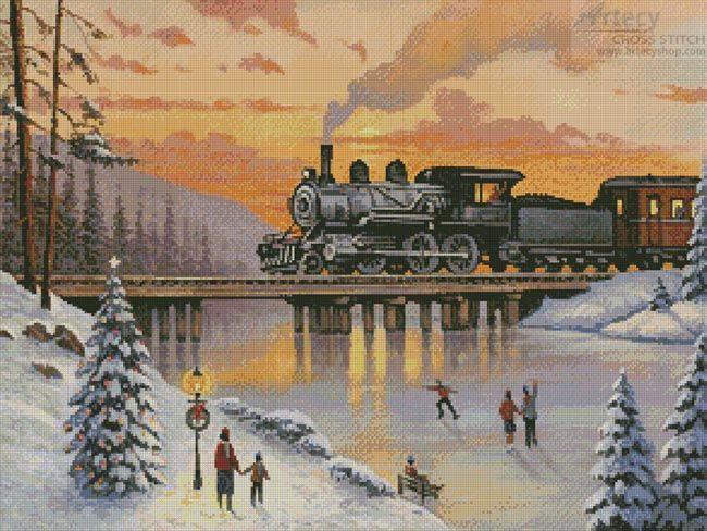 Artecy Cross Stitch. Railroad on the Ice Bridge Crossing Cross Stitch Pattern to print online.