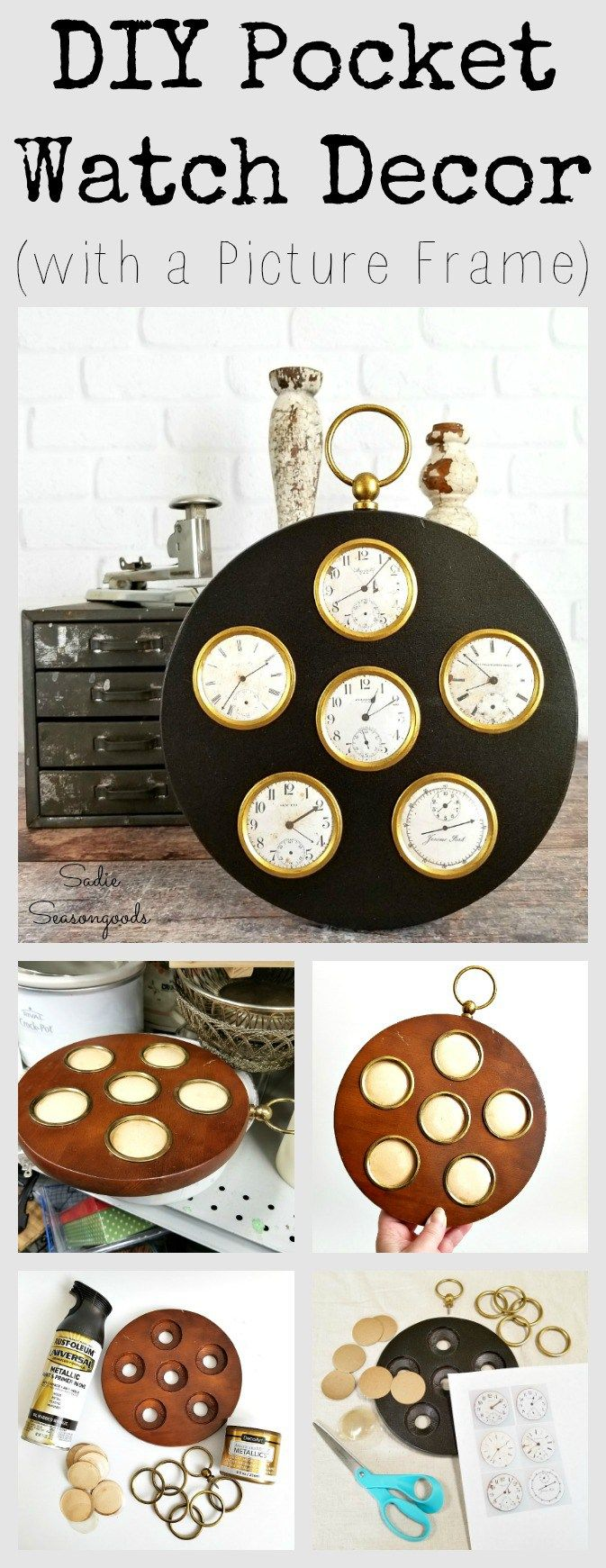 94 best clocks images on pinterest the hours wall clocks and clock diy industrial steampunk pocket watch decor from a picture frame jeuxipadfo Image collections