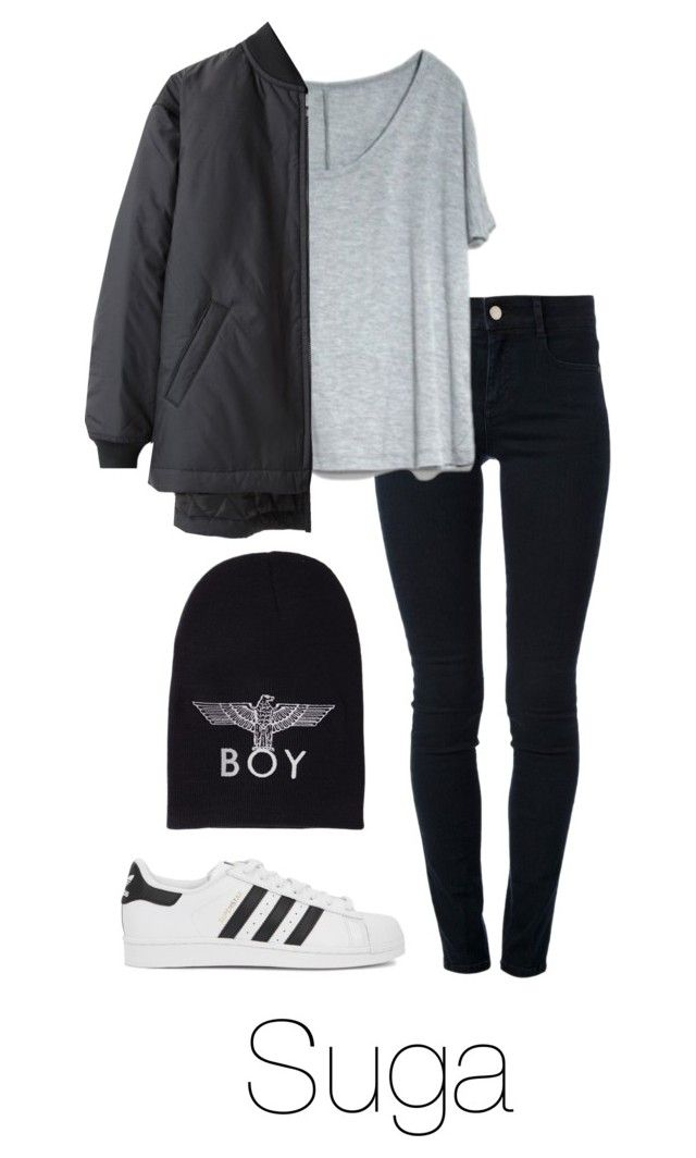 """""""Suga Inspired w/ Adidas"""" by btsoutfits ❤ liked on Polyvore featuring STELLA McCARTNEY, BOY London and adidas Originals"""