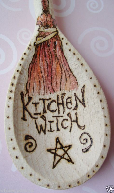 Personalised KITCHEN WITCHES WOODEN SPOON ♥ Wicca Pagan WITCH Fae ♥ Pentagram | eBay