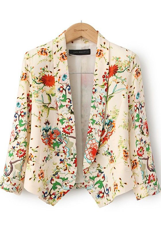 Colors Flowers Print Tailored Collar Cotton Suits