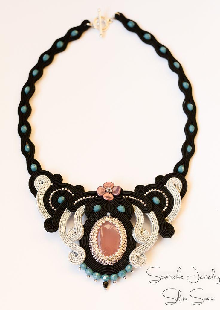 New Romantics Black and Silver Soutache necklace with brazilian agate