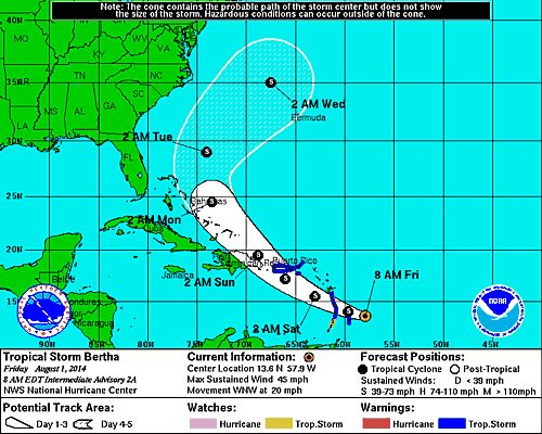[Image of 5-day forecast and coastal areas under a warning ...