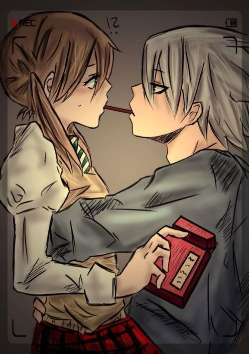 Soul Eater Maka Albarn X Soul Eater Evans One of my OTPs is playing The Pocky Game!! ( Soma )