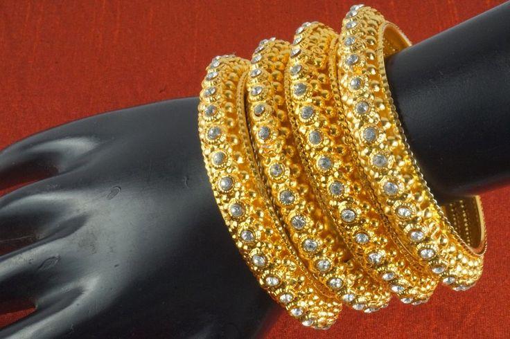 Indian Bollywood Gold Plated CZ Bridal Bangles Bracelet Kada Set Fashion Jewelry #Handmade #Bangle