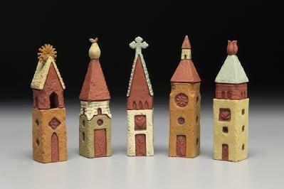 5 Prayer Towers: sunrise, pear, celtic, steeple, flower