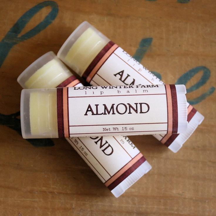 Almond Lip Balm - One Tube Beeswax Shea Cocoa Butter Jojoba