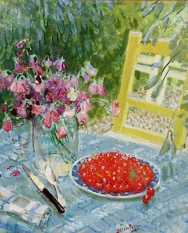 Still Life with Cherries on a Plate by Pierre-Eugène Montezin (France)