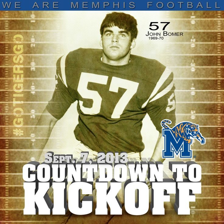 "57 More Days Until Kickoff. Offensive lineman John Bomer wore No. 57 from 1968-70 and was called ""One of the best lineman we've ever had at Memphis State"" by coach Billy J. Murphy. Purchase your seven-game 2013 season tickets at www.gotigersgo.com/tickets. ‪#‎goTIGERSgo‬ ‪#‎WeAreMemphisFootball‬"