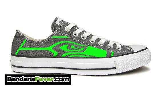 """Converse Low Charcoal """"Seattle Seahawks Neon Green"""" + FREE SHIPPING - by Bandana Fever on Etsy, $199.99"""