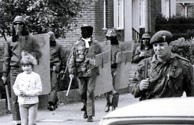 Troops and UDA members on joint patrol at Clon Duff Drive in Castlereagh Road area of Belfast, 1972.