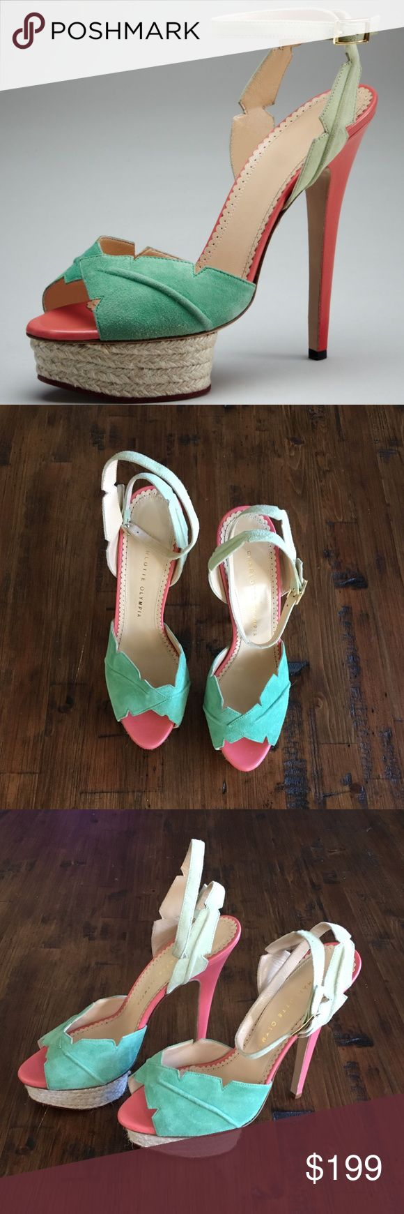 """Charlotte Olympia Charlotte Olympia Isla Leaf Espadrille-Platform ▫️Brand new without box or dust bag ▫️VERY Minor wear to ankle strap and back        heel of footpad due to being in storage        (See last pic) ▫️ Two-tone soft kid suede with raised,        cutout leaf effect ▫️Jute-covered island platform: 1.5"""" ▫️Adjustable-buckled ankle-wrap ▫️5.75"""" leather-covered heel ▫️From smoke-free, pet friendly home ❗️PRICE FIRM UNLESS BUNDLING 🚫NO trades, lowball offers, off-Posh…"""