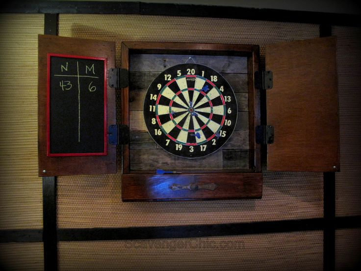 #Dartboard, #Kids, #RecycledPallet Pallet wood makes an excellent backing for any dartboards. Because of the rustic nature of the pallet wood holes are diminished. These plans provide a storage area for darts and chalk when the dartboard is not is use. Visit me over