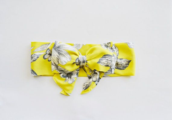 Yellow and Grey Flowered Fabric Turban Headband by BizimFlowers