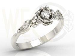 Pierścionek z białego złota w kształcie róży z białym szafirem i brylantami / Ring made from white gold in a shape of rose with  diamonds and white sapphire/ 1469 PLN #jewellery #jewelry #gold #ring #diamonds #diamenty #zloto #engagement_ring #bizuteria
