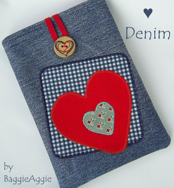 LOVE DENIM eReader case for Kindle, Kindle Paperwhite, and Kobo Touch. Perfect Valentine's gift!