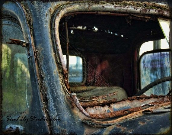 Cracked Rearview 11x14 : old truck photography relic abandoned truck photo vintage ford rust blue teal home decor fine art print