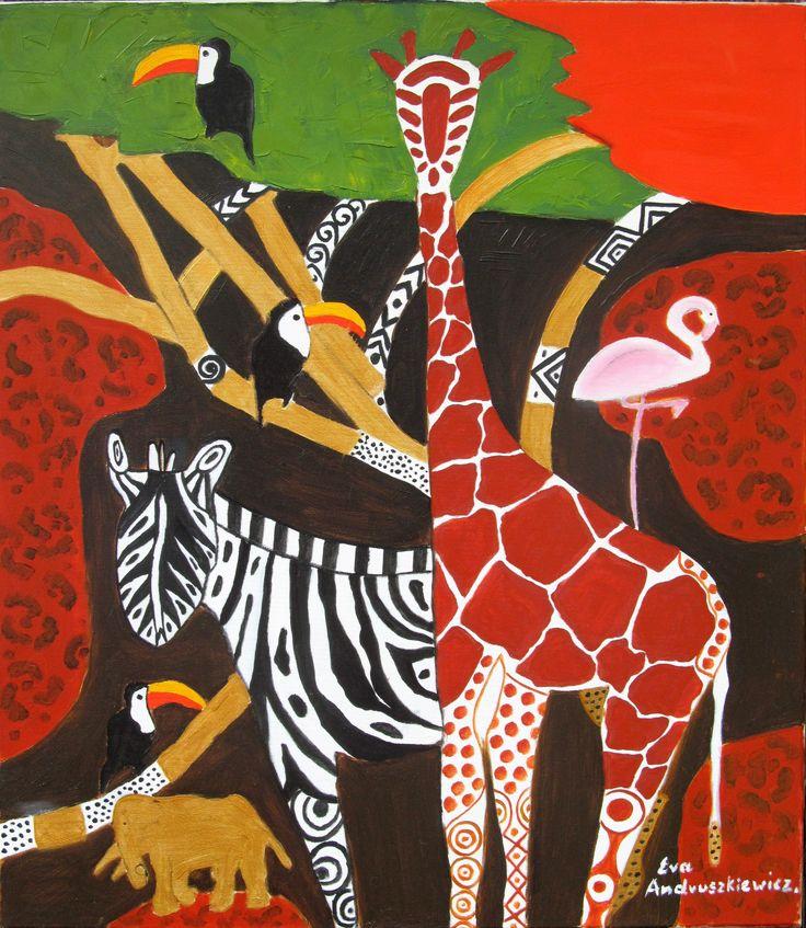''Afryka 2'' olej na płótnie . Ewa Andruszkiewicz