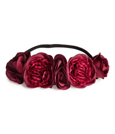 Dark red. Elastic hairband with large fabric flowers.
