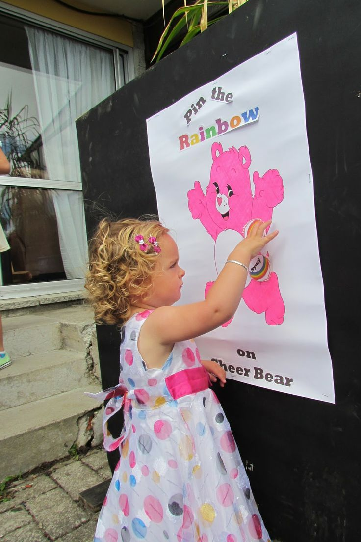 Pin the rainbow on the carebear game