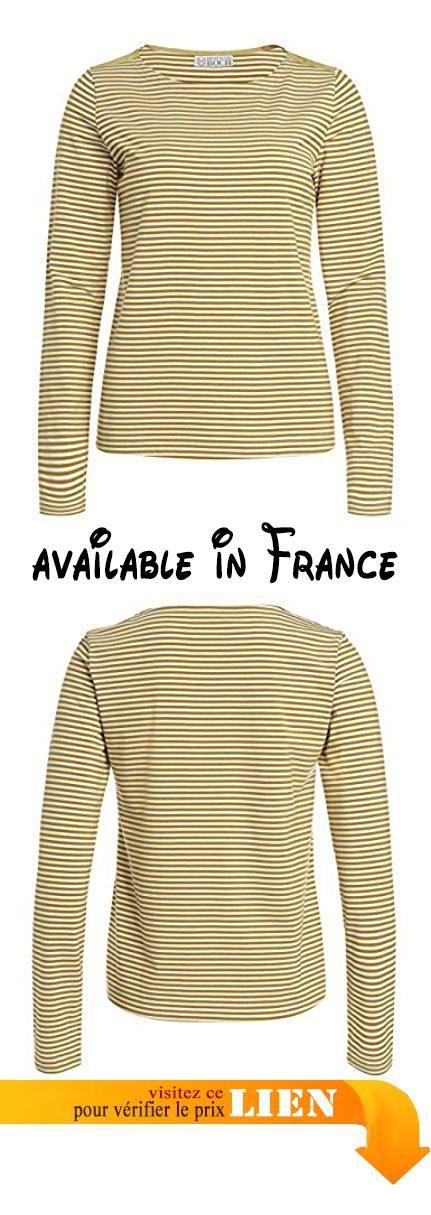 B018DPC6M8 : Brigitte von Boch Femme - Portola T-Shirt Manches Longues - Couleur Miel/Blanc Größe Mode XS-XXL M63:XS.