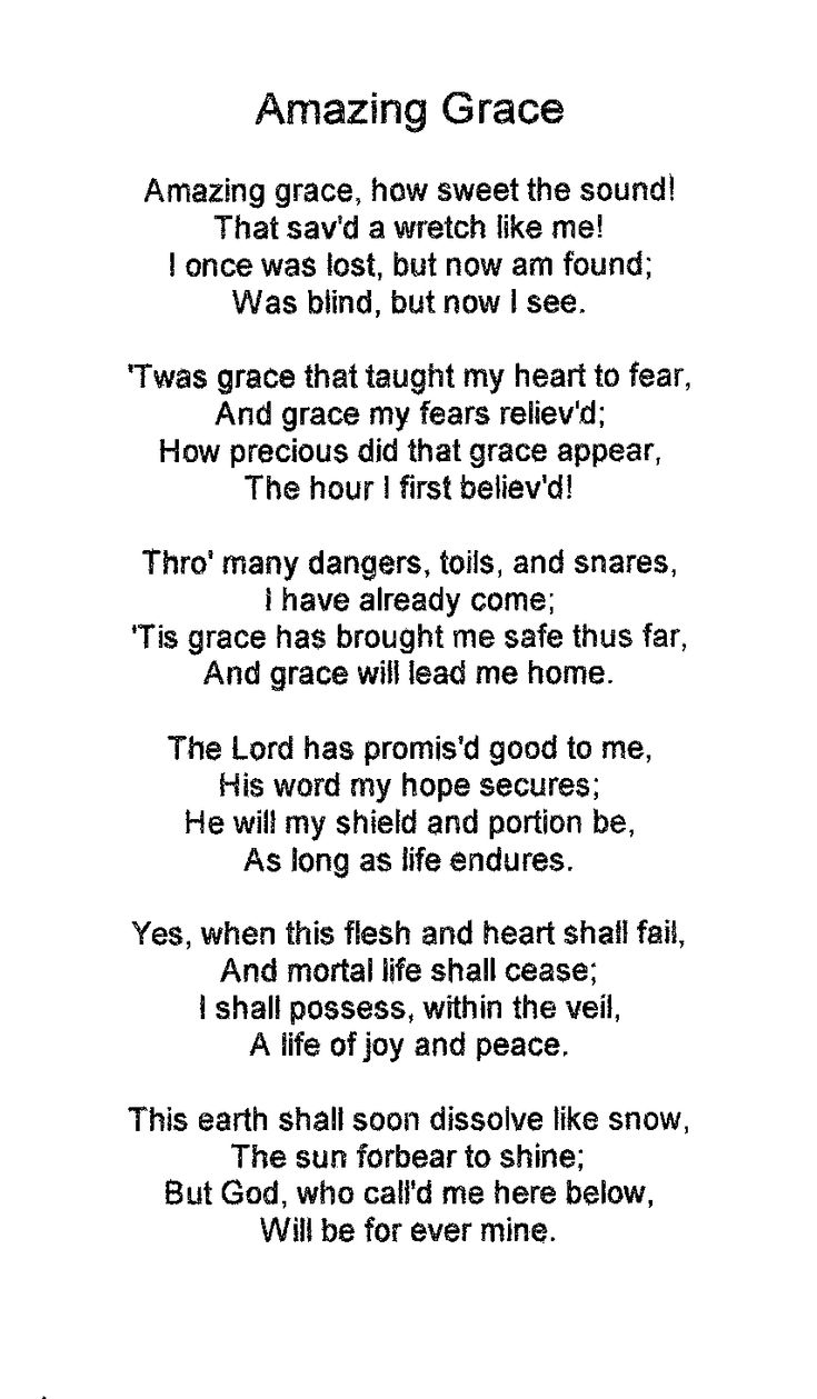 Amazing Grace Original First Five Verses With Lyrics - YouTube